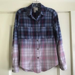 Ombré Plaid Cotton Flannel Shirt